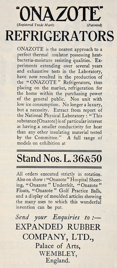 ExpandedRubberCo AdvertOnazote 1929