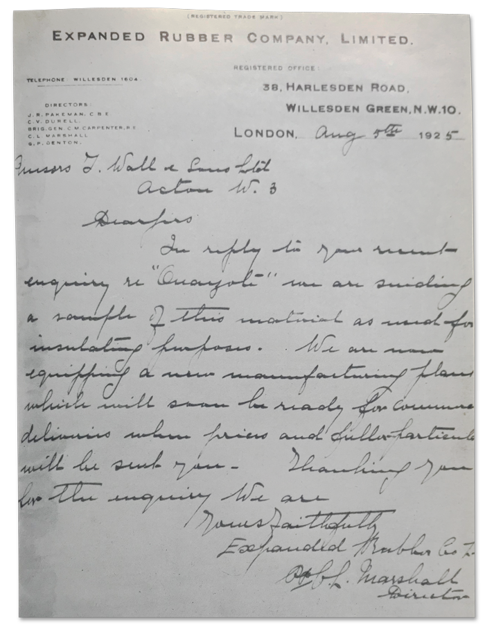 letter from C L Marshall to T Wall and Sons Limited